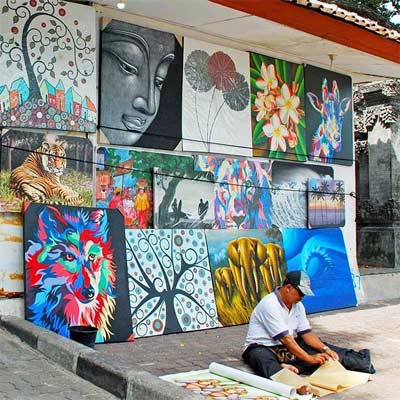 Pinturas y cuadros de artistas locales de Bali